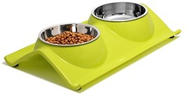 UPSKY Double Dog Cat Bowls Premium Stainless Steel Pet Bowls With No-Spi... - $25.38