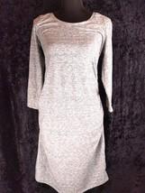 Liz Lange Maternity Dress M Gray Heather 3/4 Sleeve Knee Length Sheath C... - $22.49