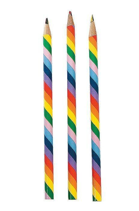 """Rainbow Pencils (12 Pack) 7 1/2"""". Wood."""