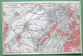 1907 MAP ORIGINAL Baedeker - PARIS Bois de Boulogne Asnieres Rueil Bougival - $5.07