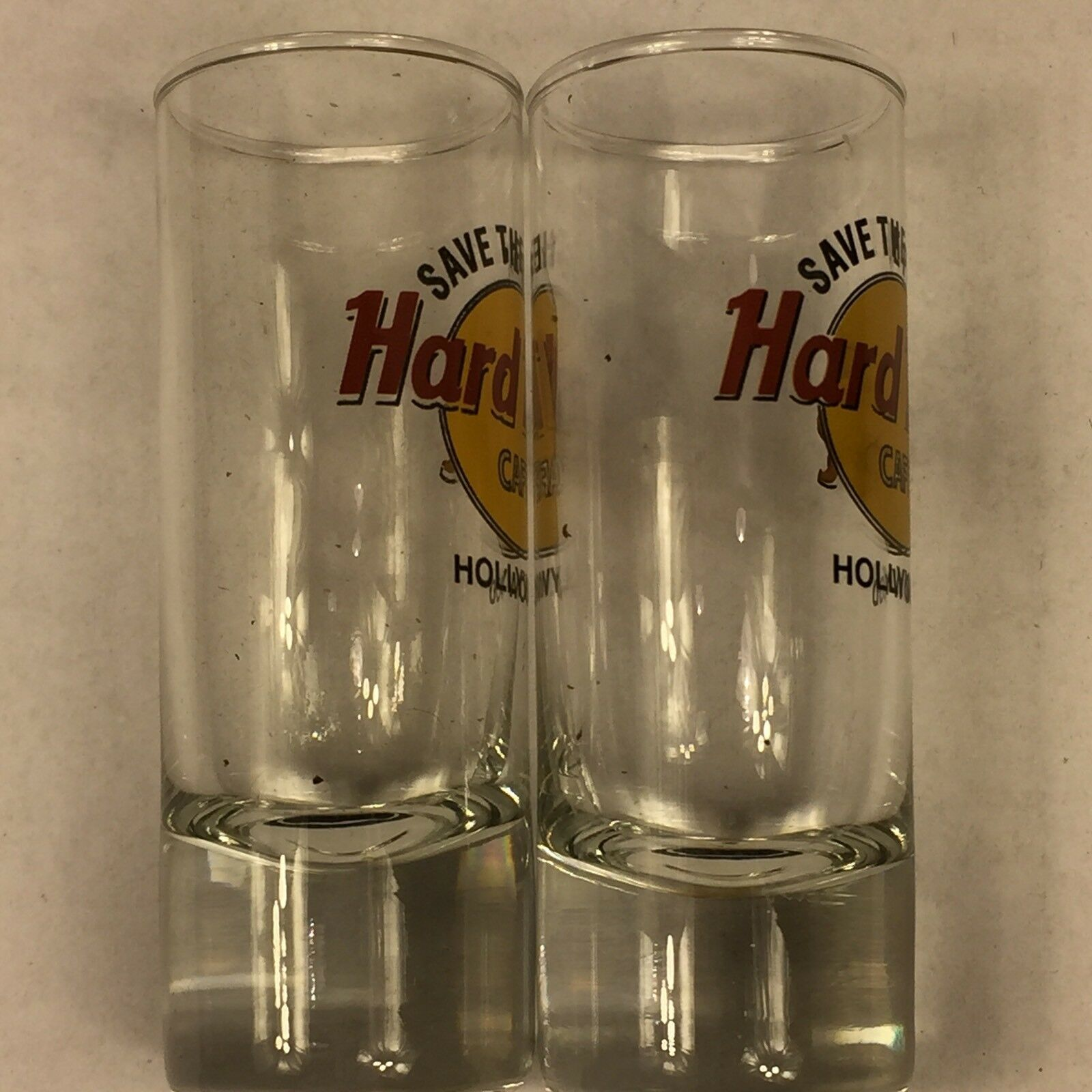 """Pair of Hard Rock Cafe HOLLYWOOD Shooter Double Shot Glasses 4"""" Glass Boxed"""