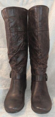 YUU Simona Dark Brown Wedge Knee High Textile Boots Size 6 1/2 M(B)