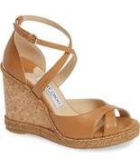 Jimmy Choo Alanah Cork Tan/ Caramel Leather Platform Wedge Sandals Shoes 37 - $299.00