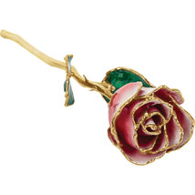 Lacquered Frozen White & Red Rose With Gold Trim - $85.99