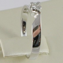 18K WHITE GOLD SOLITAIRE WEDDING BAND SQUARED RING DIAMOND 0.15 MADE IN ITALY image 2