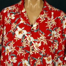 "Royal Creations Hawaiian Aloha Shirt 4XL Red Orchids Welt Pocket 58"" Chest - $23.36"