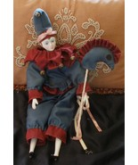 Harlequin Mardi Gras Doll Porcelain With Hobby ... - $25.99