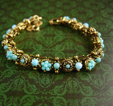 Vintage Edwardian Bracelet - Turquoise and gold  bookchain links  - $125.00