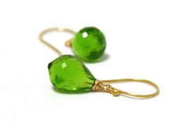 Green Peridot Briolette Drop Dangle Earrings in 24K Yellow Gold Vermeil - $47.39