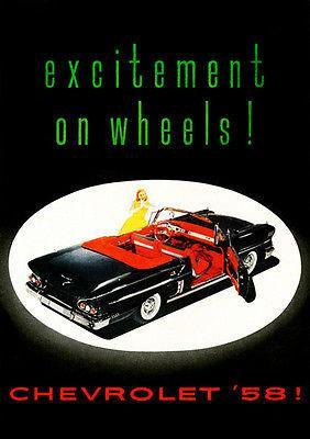 Primary image for 1958 Chevrolet - Excitement On Wheels - Promotional Advertising Poster