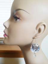 silver arrow head circle sequin dangle bead dro... - $4.99