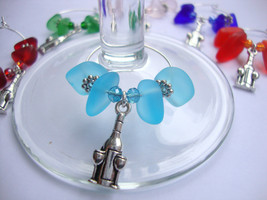 Sea Glass Wine Glass Charms-Set of 6 Handmade USA - $12.34