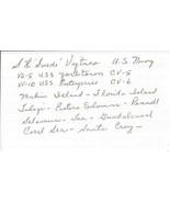 Stanley Swede Vejtasa Signed 3x5 Index Card WWII Ace Grim Reapers US Nav... - $93.38