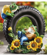 Relaxing Frogs On Tire W/ Sunflowers Garden Scu... - $19.95