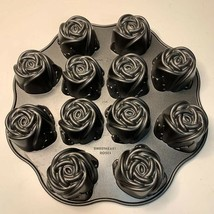 Nordic Ware Sweetheart Roses Pan Cupcake Muffin Non-Stick Cast Aluminum ... - $31.99