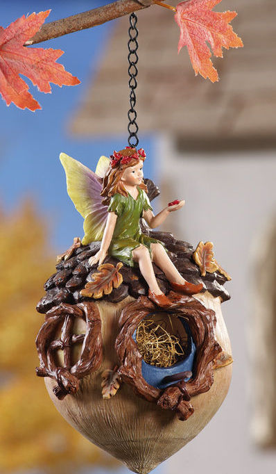 Primary image for Green Fairy Sitting On Acorn Birdhouse