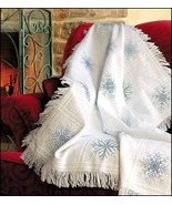 White 16ct Evenweave Throw Afghan 32x44 100%cot... - $18.00