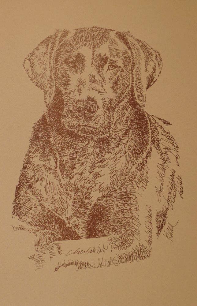 CHOCOLATE LABRADOR RETRIEVER DOG ART PRINT #76 by Kline LAB Dogs name added free