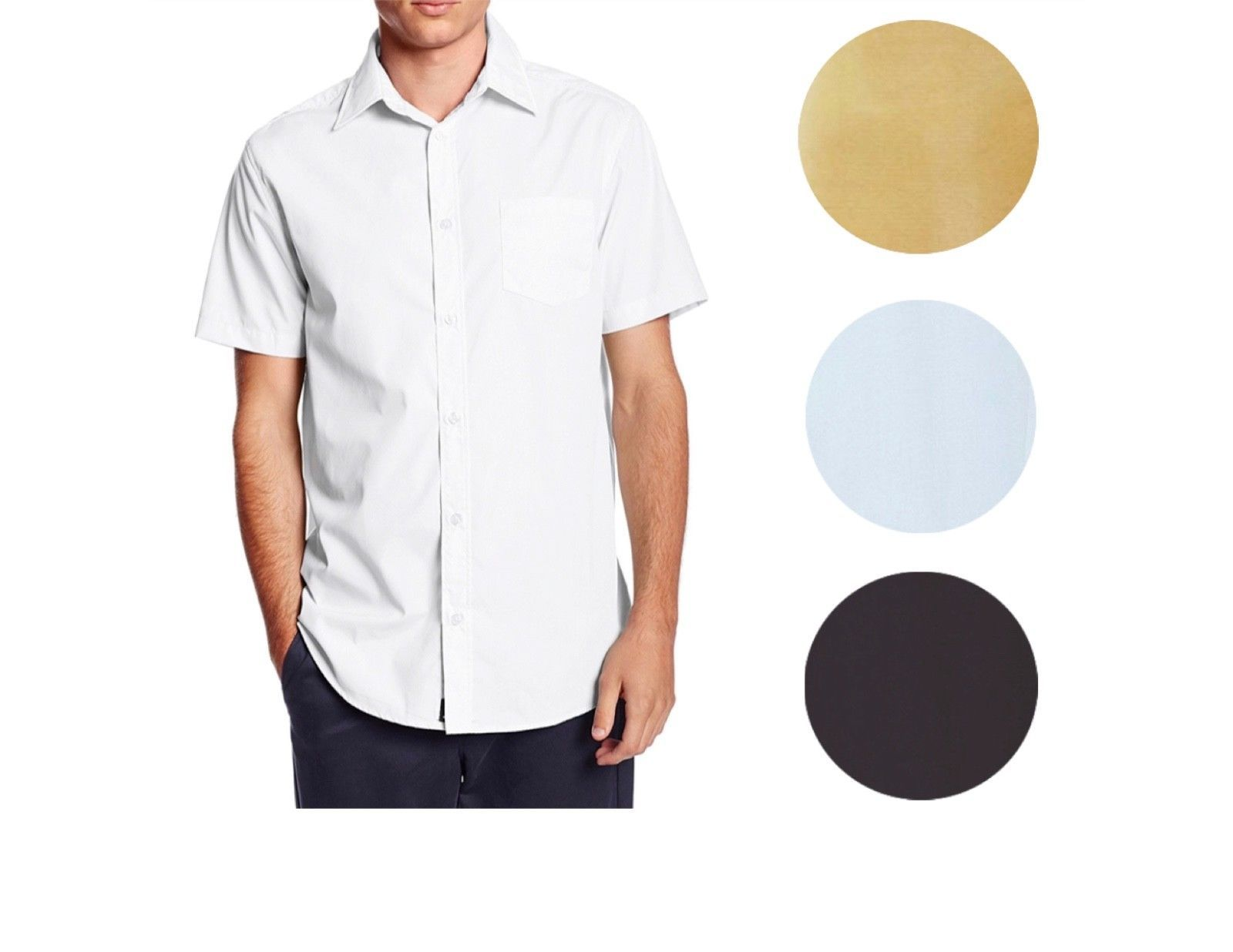 Omega Italy Men's Premium Classic Button Down Short Sleeve Solid Dress Shirt