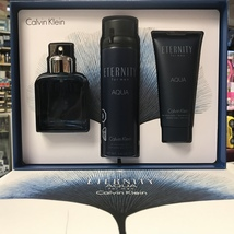 ETERNITY AQUA BY CALVIN KLEIN 3Pcs MEN Set, 3.4 OZ + Body Spray + AS Balm - $64.98