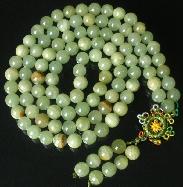 Tibetan NATURAL GREEN JADE 108 Prayer Beads Mala