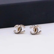 AUTHENTIC CHANEL AMBER 2-TONE CC LOGO STUD EARRINGS MINT