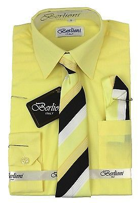 BERLIONI ITALY TODDLERS KIDS BOYS LONG SLEEVE DRESS SHIRT SET TIE & HANKY LEMON