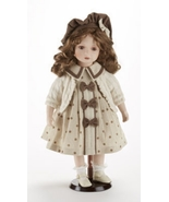 "18"" Curly Auburn Hair Porcelain Doll Aubry, Beige Dress, Delton 7260-6. 3+ - $39.99"