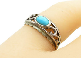 925 Sterling Silver - Vintage Turquoise Swirl Detail Band Ring Sz 7 - R1... - $23.18