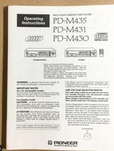 Pioneer PD-M435 M431 M430 CD Player  Owners Manual *Original* - $14.87