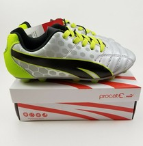 PUMA Procat Soccer Equalizer Cleats Youth Kids Silver Green Size - $22.42