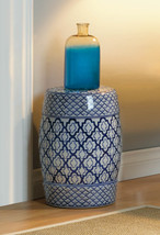 Ceramic Stool, Side Table, Plant Stand White w/ Blue Medallion Pattern  - $92.95