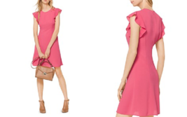 NWT MICHAEL KORS PINK FLOUNCE FLARE DRESS SIZE XL $125 - $42.74