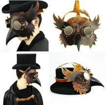 Mask Beak Costume Plague Doctor Steampunk Bird Leather Halloween Gothic ... - £38.62 GBP