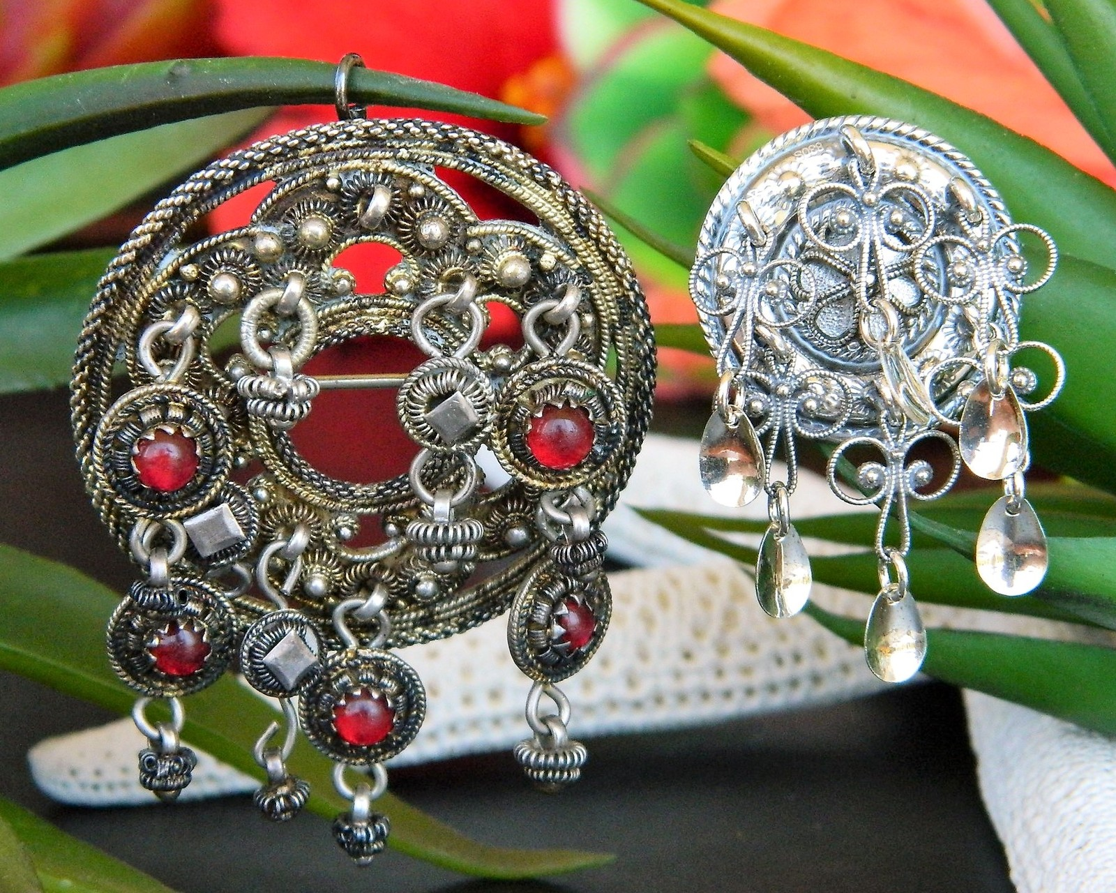 Primary image for 2 Vintage Solje Scandinavian Wedding Pendant Brooch Norway 830S Silver