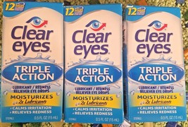 LOT OF 5 Clear Eyes - Triple Action Eye Drops - 15 ml Bottles NIB - $13.85