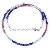 Lapis Lazuli, Aquamarine & Phosphosiderite Beaded Necklace with 925 Silv... - $37.99