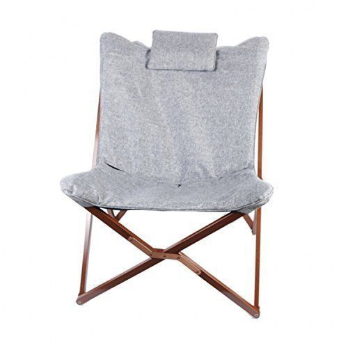 Primary image for Zoned For You New Design Butterfly Foldable Beech Wood Frame Chair (Light Gray)