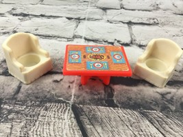 Vintage Fisher Price Little People Dinning Table Lobster Dinner Armchairs - $11.88