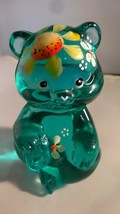 Fenton Art Glass Hand Painted Sun Flower Robin Egg Blue Bear Figurine 51... - $35.00