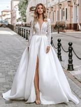Long Sleeve Soft Satin V-Neck High Slit Long Sleeve A-Line Beach Wedding Dress image 3