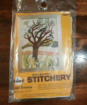 "Cool Breeze Crewel Embroidery Kit Valiant 5"" x 7"" Tree Mountains - $7.84"