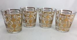 Gay Fad Danish Vintage Bar Glasses Mid Century Modern Gold Print Signed ... - $49.49