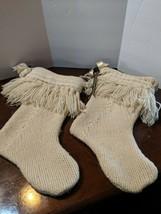 Vintage Christmas Stocking Set of 2 Crochet Handmade White Bells - $41.83