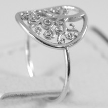 White Gold Ring 750 18k with Tree of Life, Circle, Made in Italy image 2