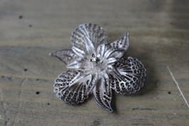 Vintage Sterling Silver Filigree Flower Brooch - $14.08