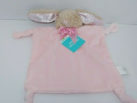 Dandee Tan Bunny Baby Pink Security Blanket dot bow knotted corners ratt... - $22.27