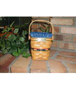 Longaberger Bee Basket Combo Small Spoon Size Classic Blue Fabric Liner New - $39.55