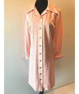 Vintage 1960s David Crystal Pink White Houndstooth Shirt Dress size 18 L... - $34.95