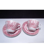 Wessex Collection Red / Rose Willow Cups & Saucers ~ 2 cups 2 saucers - $13.99